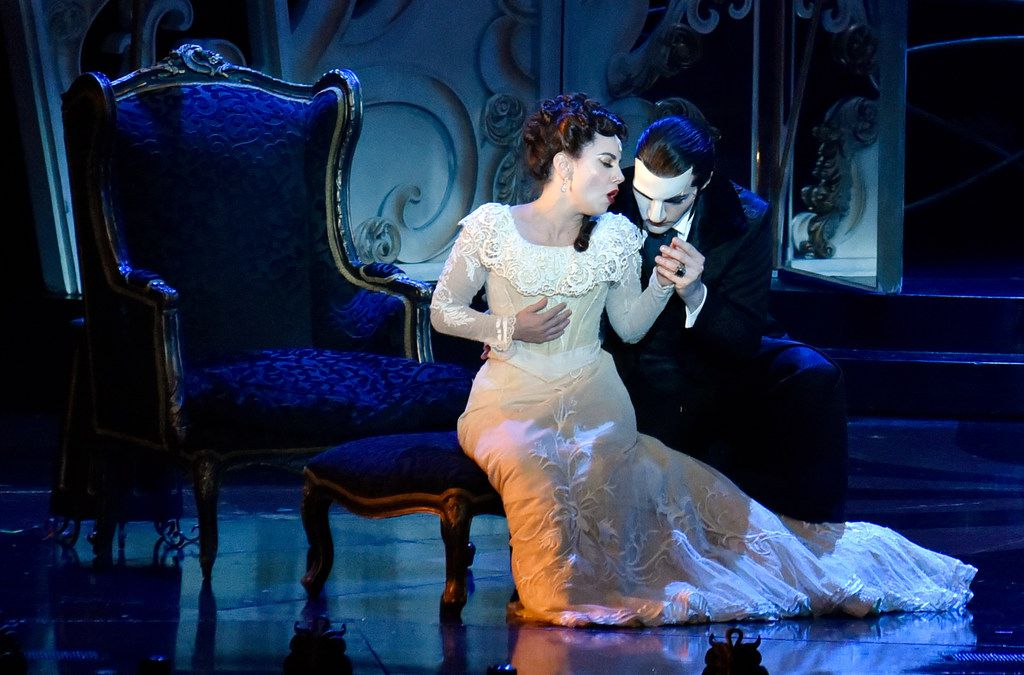 Christine Daae (Meghan Picerno, left), and The Phantom (Bronson Norris Murphy) in the national tour of Love Never Dies,  presented by Dallas Summer Musicals at Fair Park Music Hall.