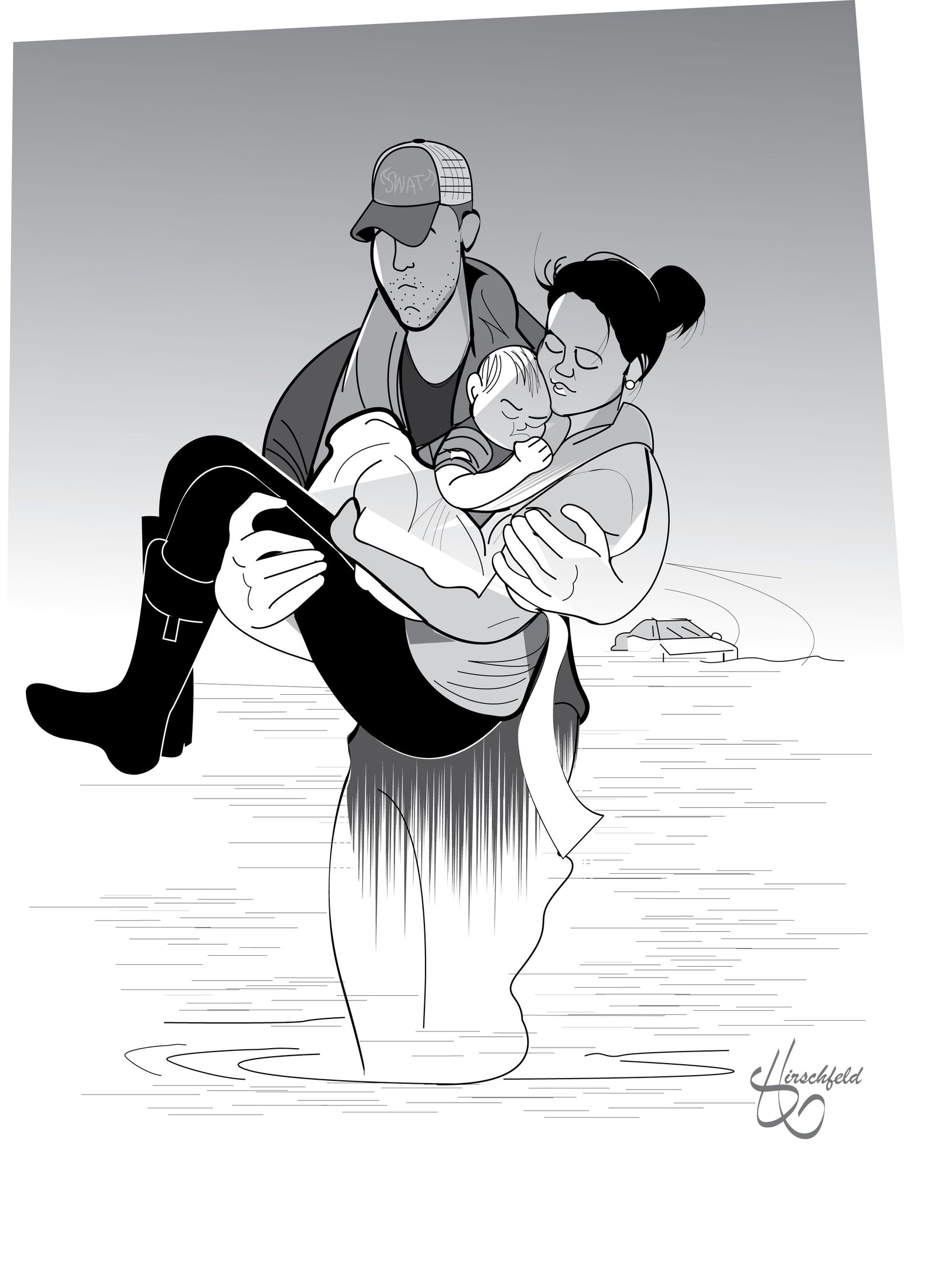 Hollywood illustrator Matt Hirschfeld created this image of a photo taken of Cathy Pham and son Aidan being rescued by Houston SWAT Officer Daryl Hudeck.