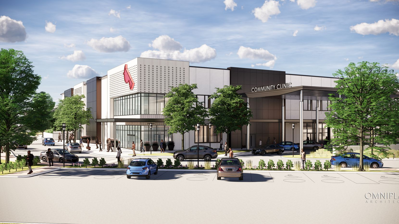 A rendering shows the new Parkland RedBird Health Center in southern Dallas.
