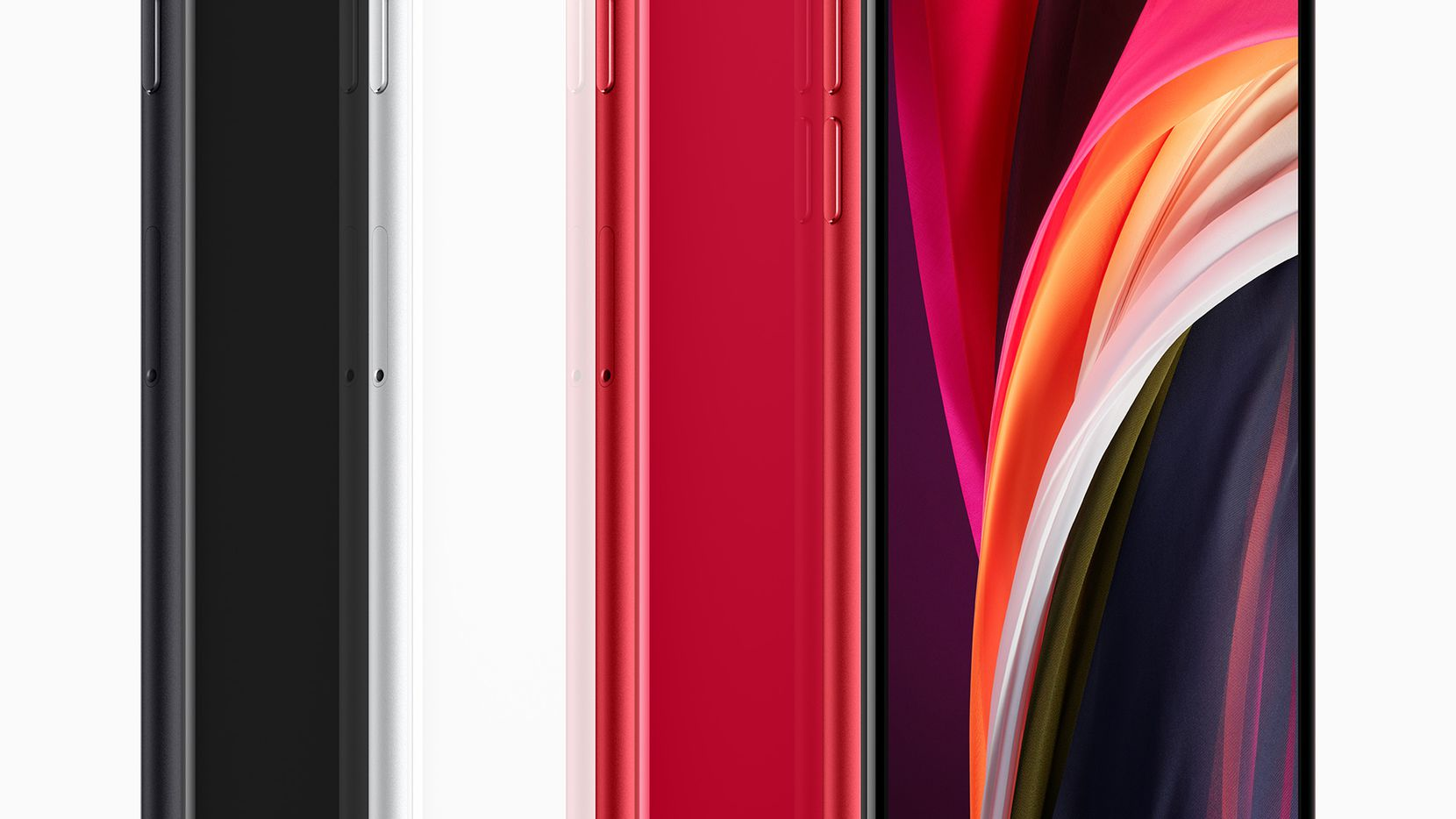 Apple's second generation iPhone SE comes in black, white and red.