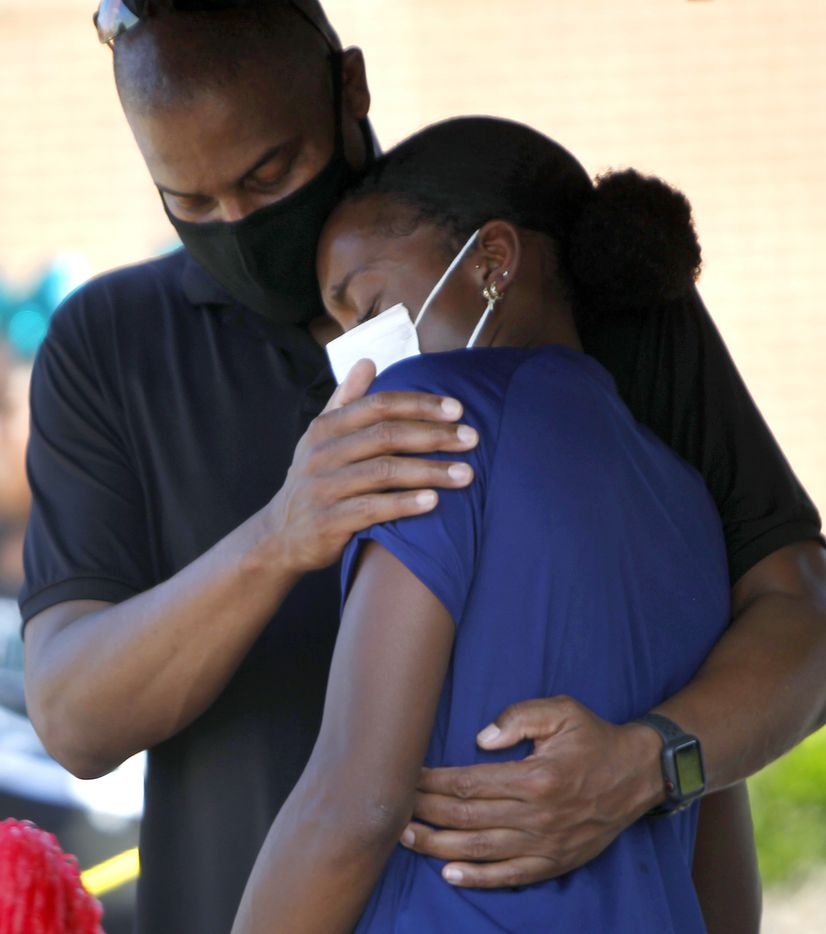 Jasmine Moore receives a hug from her dad Earl after delivering an emotional speech about her upcoming opportunity to compete on her sport's highest stage in the upcoming Tokyo Olympics. The Olympic Send-Off for the Mansfield Lake Ridge graduate was held at Danny Jones Middle School in Mansfield on July 21, 2021. (Steve Hamm/ Special Contributor)
