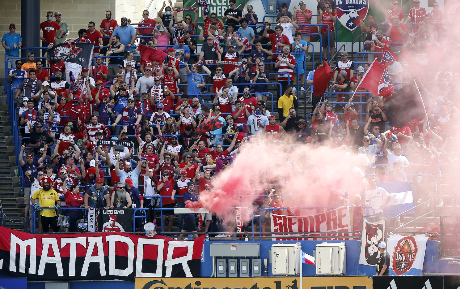 Fans react to a goal during the first half as FC Dallas hosted the Houston Dynamo at Toyota Stadium in Frisco on May 8, 2021. (Stewart F. House/Special Contributor)