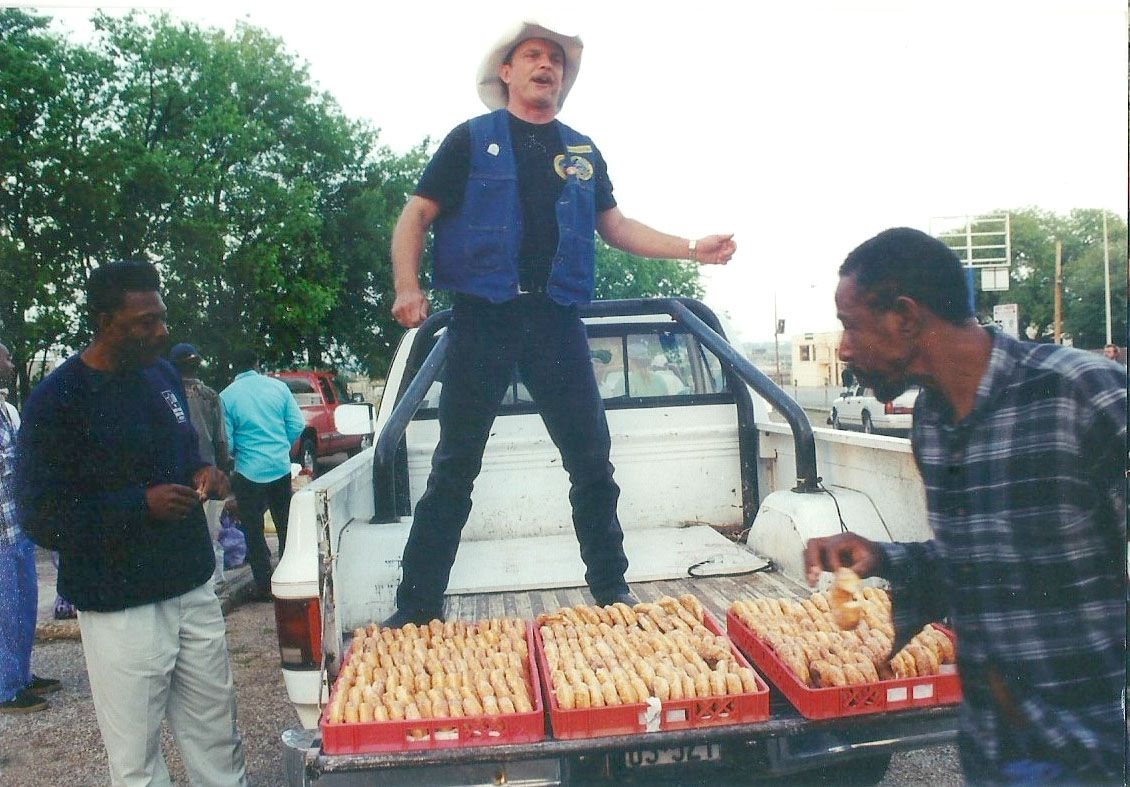 Leon Birdd served doughnuts from the back of his pickup in downtown Dallas in 1996. Birdd would pick up day-old doughnuts from bakeries and feed the hungry on the city's streets.