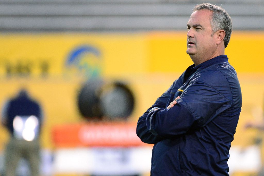 TEMPE, AZ - SEPTEMBER 24:  Head coach Sonny Dykes of the California Golden Bears looks on during warm ups prior to the game against the Arizona State Sun Devils at Sun Devil Stadium on September 24, 2016 in Tempe, Arizona.  (Photo by Jennifer Stewart/Getty Images) ORG XMIT: 659548717