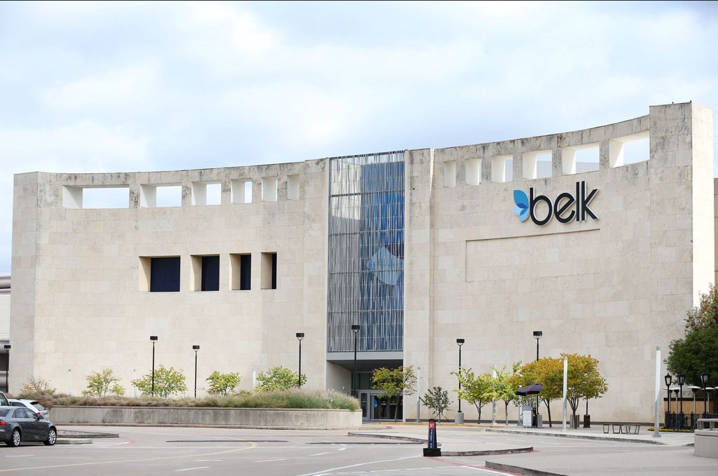 Exterior of the Belk store -- formerly Saks Fifth Avenue, formerly Marshall Fields -- designed by architect Philip Johnson, at the Galleria shopping center in Dallas.  (Rose Baca/The Dallas Morning News)