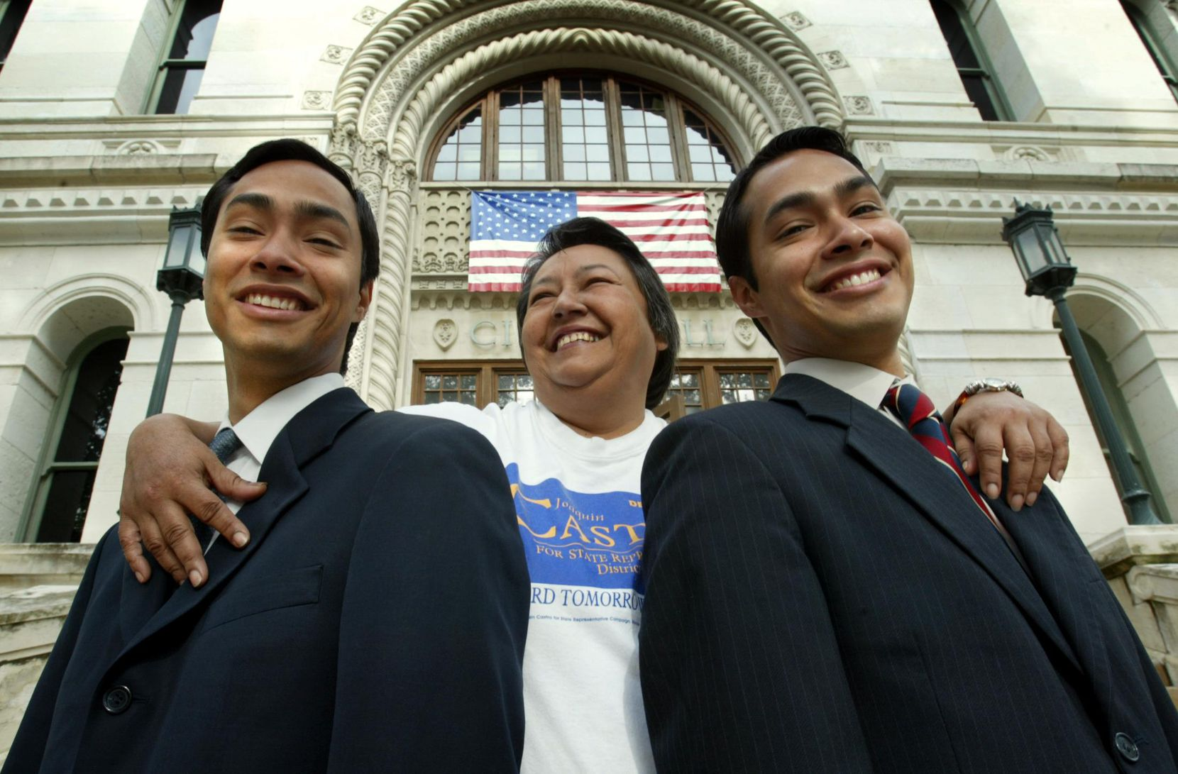 Rosie Castro with her twin sons,  Joaquin (left) and Julian in front of San Antonio City Hall in 2002