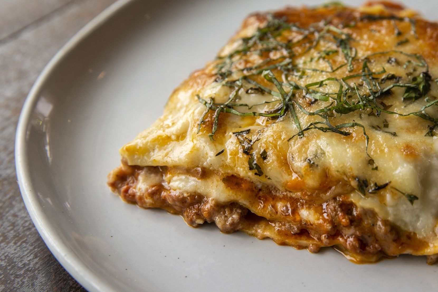 The lasagna bolognese at Gemma American bistro in Dallas