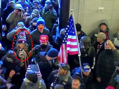 "A security camera surveillance photo included in a FBI criminal complaint filed against Jenna Ryan, of Frisco, which the FBI says shows Ryan (circled in red) entering the U.S. Capitol along with other pro- Donald Trump supporters who raided the building on Jan. 6, 2021 as Congress was meeting to certify the results of President-elect Joe Biden's victory. Jennifer ""Jenna"" Leigh Ryan, 50, is charged with ""knowingly entering or remaining in any restricted building or grounds without lawful authority"" and ""disorderly conduct on Capitol grounds,"" according to the complaint filed in U.S. District Court for the District of Columbia. It alleges that she engaged in ""disruptive conduct"" in the Capitol with the ""intent to impede, disrupt, or disturb the orderly conduct of a session of Congress."""