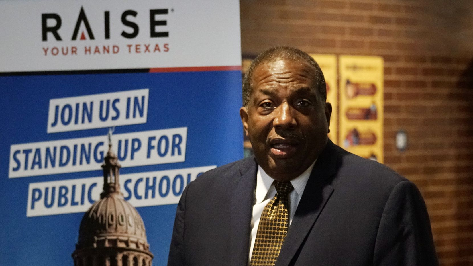 State Sen. Royce West, shown speaking at a press conference about school funding in Dallas last month, was honored by the Texas House on Monday. It voted to rename a priority bill, which would streamline removal of racist restrictions from real-estate deeds, in honor of the veteran Dallas Democrat.