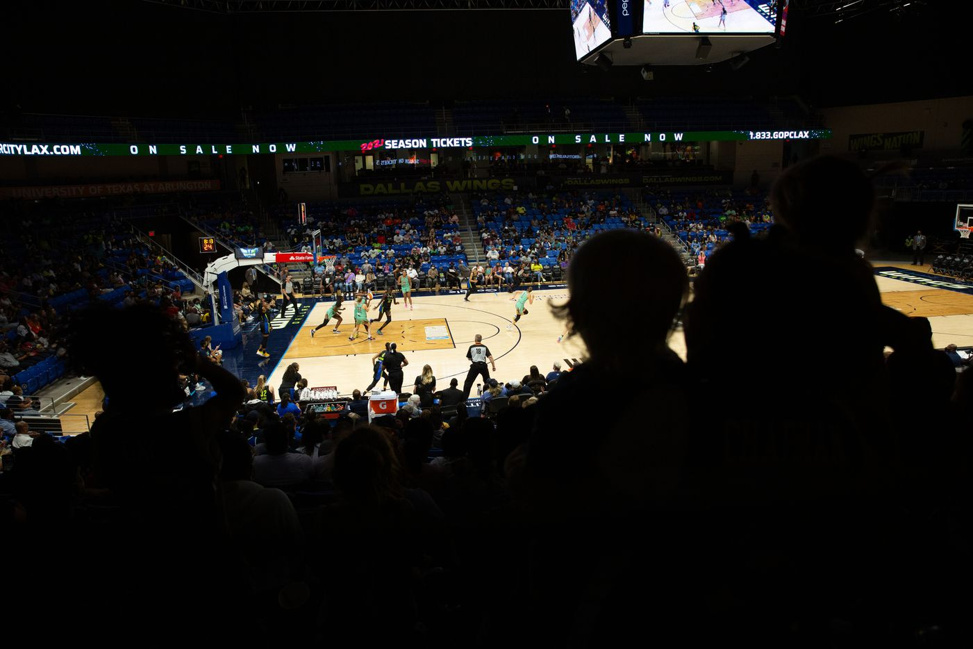 Fans watch the Dallas Wings game against New York Liberty at College Park Center in Arlington, TX on September 11, 2021.  (Shelby Tauber/Special Contributor)