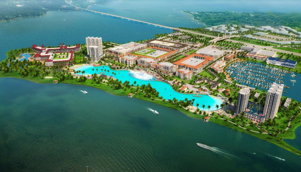 Initial plans for the $1 billion Bayside development on I-30 in Rowlett included a fountain that the developers said would be the largest in the state, and a crystal lagoon.