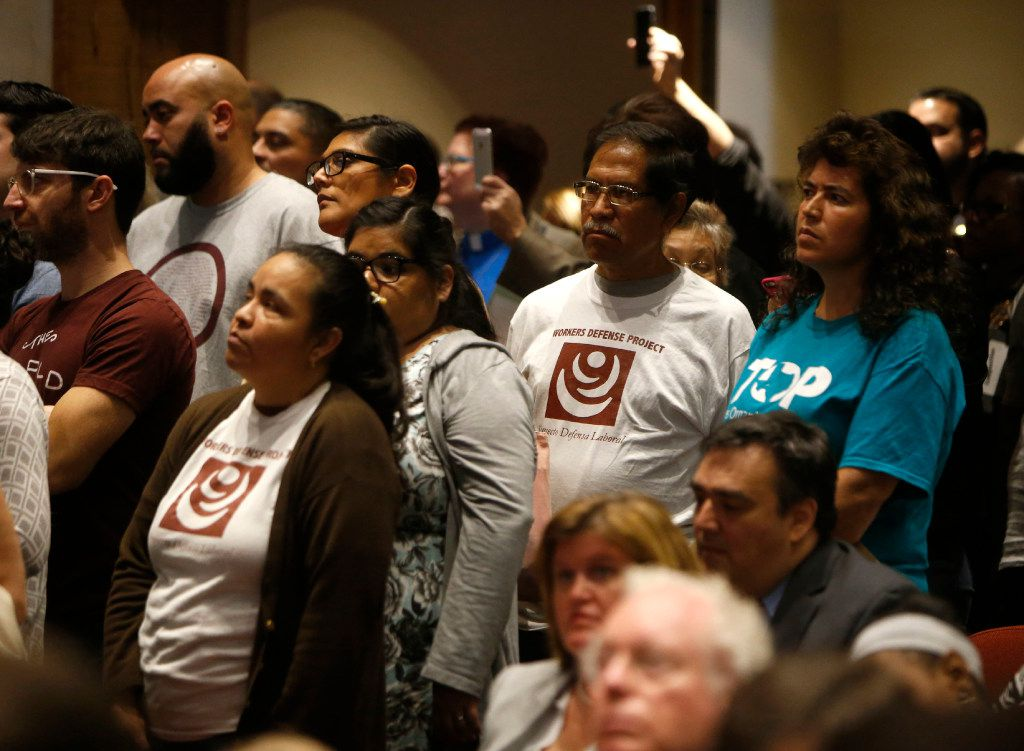 "Advocacy groups wait in line to speak during a meeting at the Dallas County Commissioners Court in Dallas on Tuesday, Feb. 7, 2017. More than a dozen D-FW advocacy groups gathered in support of a ""Welcoming Communities"""" resolution, which serves as a proclamation to all residents that Dallas County supports immigrant, refugee, and marginalized communities, documented and undocumented, and values them as integral members of our community.  (Rose Baca/The Dallas Morning News)"