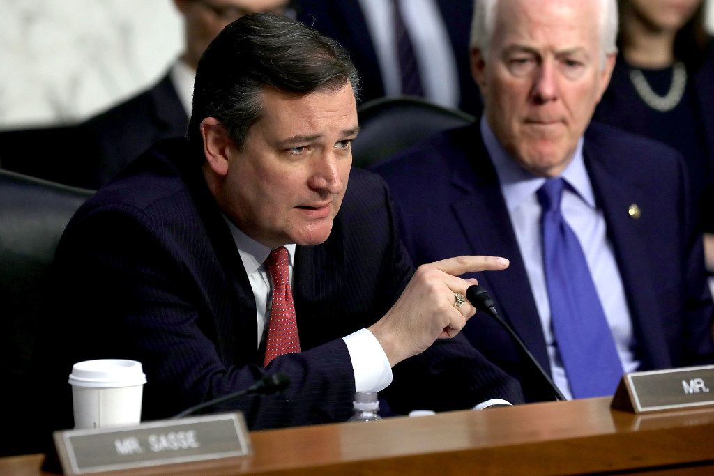 WASHINGTON, DC - MAY 08:  Senate Judicary Committee member Sen. Ted Cruz (R-TX) questions witnesses during a subcommittee hearing on Russian interference in the 2016 election in the Hart Senate Office Building on Capitol Hill May 8, 2017 in Washington, DC. Former acting Attorney General Sally Yates testified to the subcommittee that she had warned the White House about contacts between former National Security Advisor Michael Flynn and Russia that might make him vulnerable to blackmail.