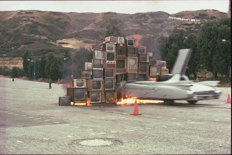 Ant Farm's Media Burn, 1975, video, color, sound, 23:02 min., Performance, July 4, 1975, Cow Palace, San Francisco,