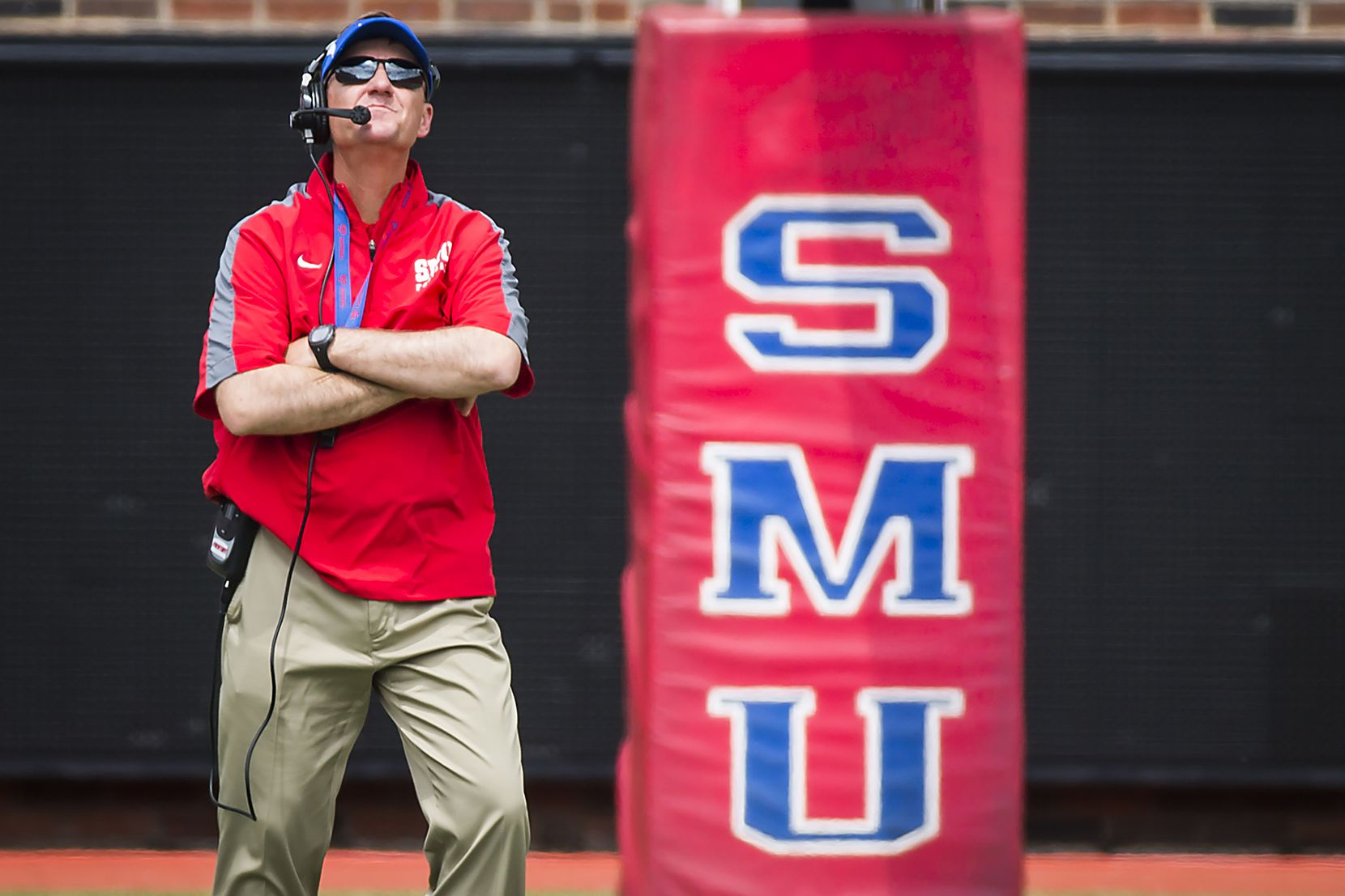 SMU head coach Chad Morris watches his players scrimmage during the team's spring football game at Ford Stadium on Saturday, April 16, 2016, in Dallas. (Smiley N. Pool/The Dallas Morning News)