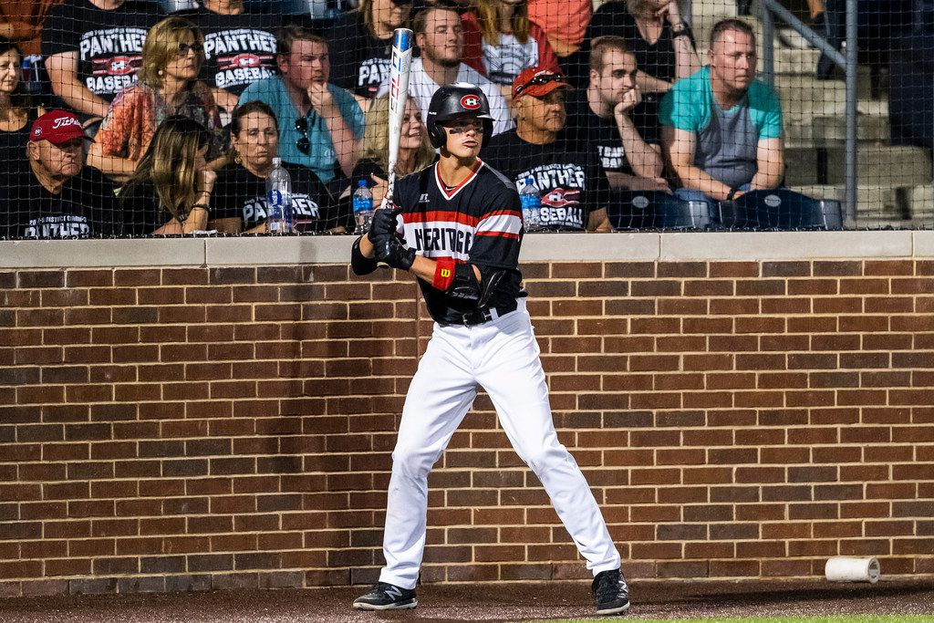 Colleyville Heritage shortstop Bobby Witt Jr. waits in the on deck circle during game one of a best-of-three Class 5A Region I quarterfinal baseball playoff series against the Mansfield Legacy at Dallas Baptist University on Thursday, May 16, 2019, in Dallas. (Smiley N. Pool/The Dallas Morning News)