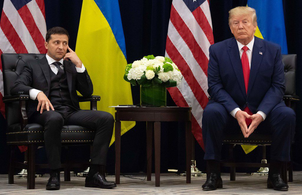President Donald Trump and Ukrainian President Volodymyr Zelenskiy look on during a meeting in New York on the sidelines of the United Nations General Assembly last month.
