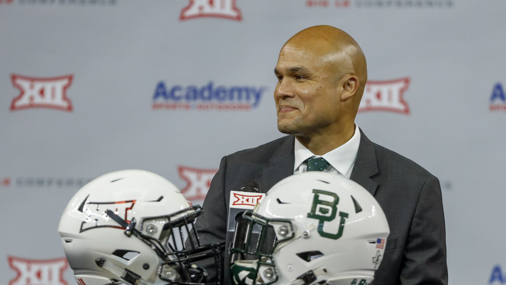Baylor head football coach Dave Aranda smiles during the Big 12 Conference Media Days at AT&T Stadium on Thursday, July 15, 2021, in Arlington.