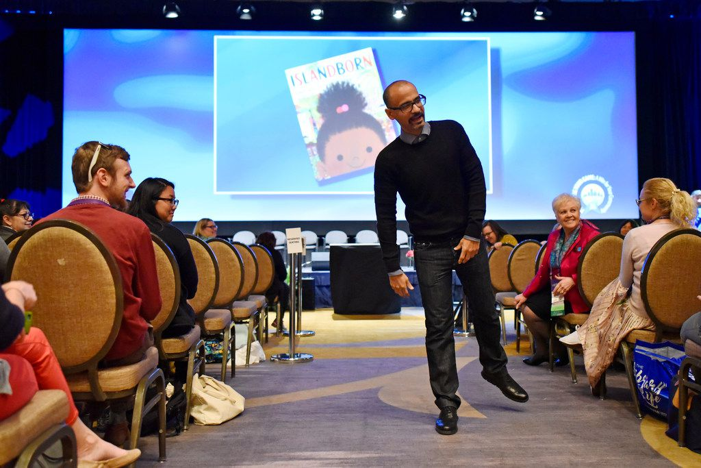 Activist and writer Junot Díaz speaks during the Texas Library Association annual conference at the Omni Hotel in Dallas, Thursday, April 05, 2018.