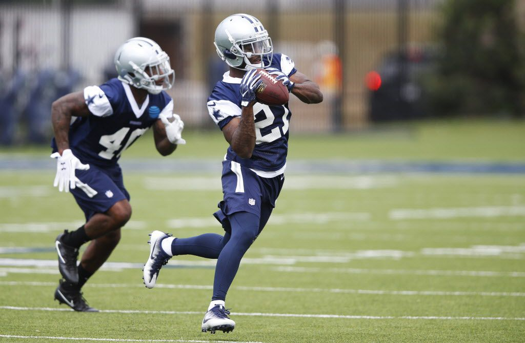 Dallas Cowboys cornerback Jourdan Lewis (27) catches the ball in a drill in rookie minicamp at The Star in Frisco on Friday, May 12, 2017. (Vernon Bryant/The Dallas Morning News)