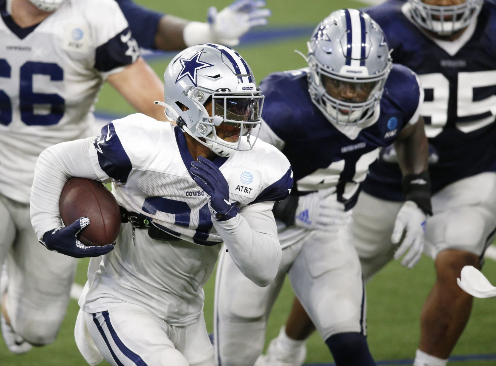 Dallas Cowboys running back Tony Pollard (20) rushes up the field in practice during training camp at the Dallas Cowboys headquarters at The Star in Frisco, Texas on Thursday, August 27, 2020. (Vernon Bryant/The Dallas Morning News)
