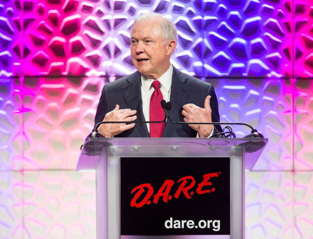 U.S. Attorney General Jeff Sessions speaks about the opioid epidemic at the 30th DARE International Training Conference on Tuesday, July 11, 2017 at the Gaylord Texan in Grapevine, Texas. (Ashley Landis/The Dallas Morning News)