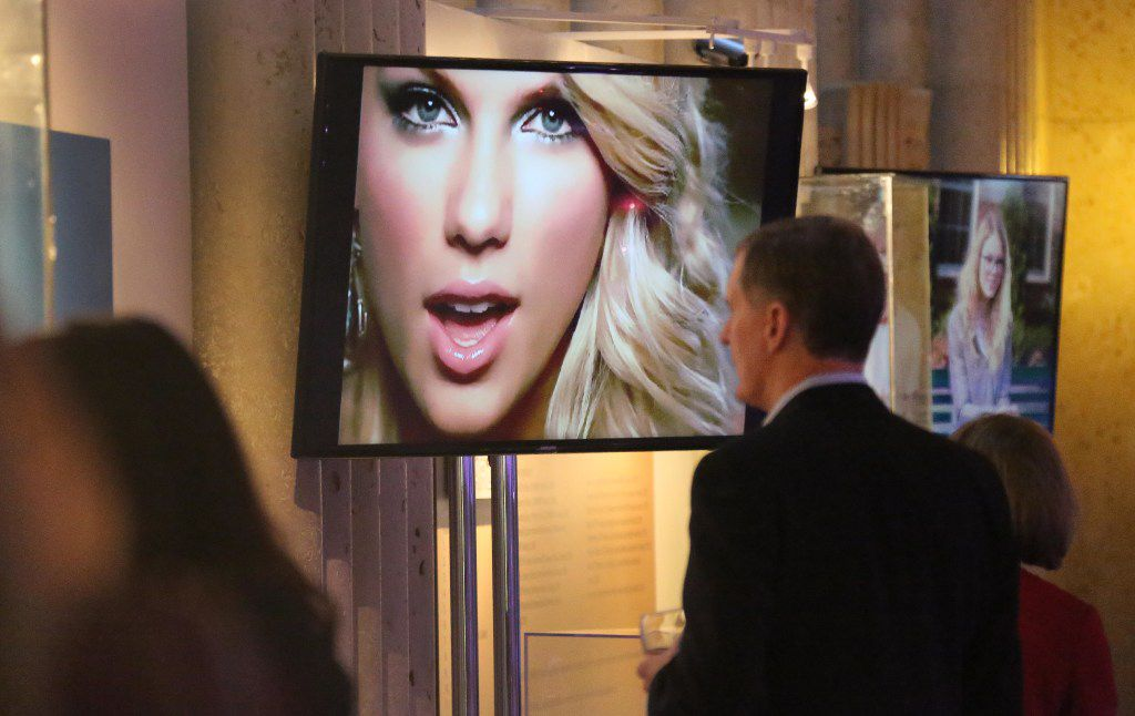 """Some of Swift's most memorable music videos, which play on a loop at the display, serve to remind visitors how far the singer has come since releasing her first single, """"Tim McGraw."""""""