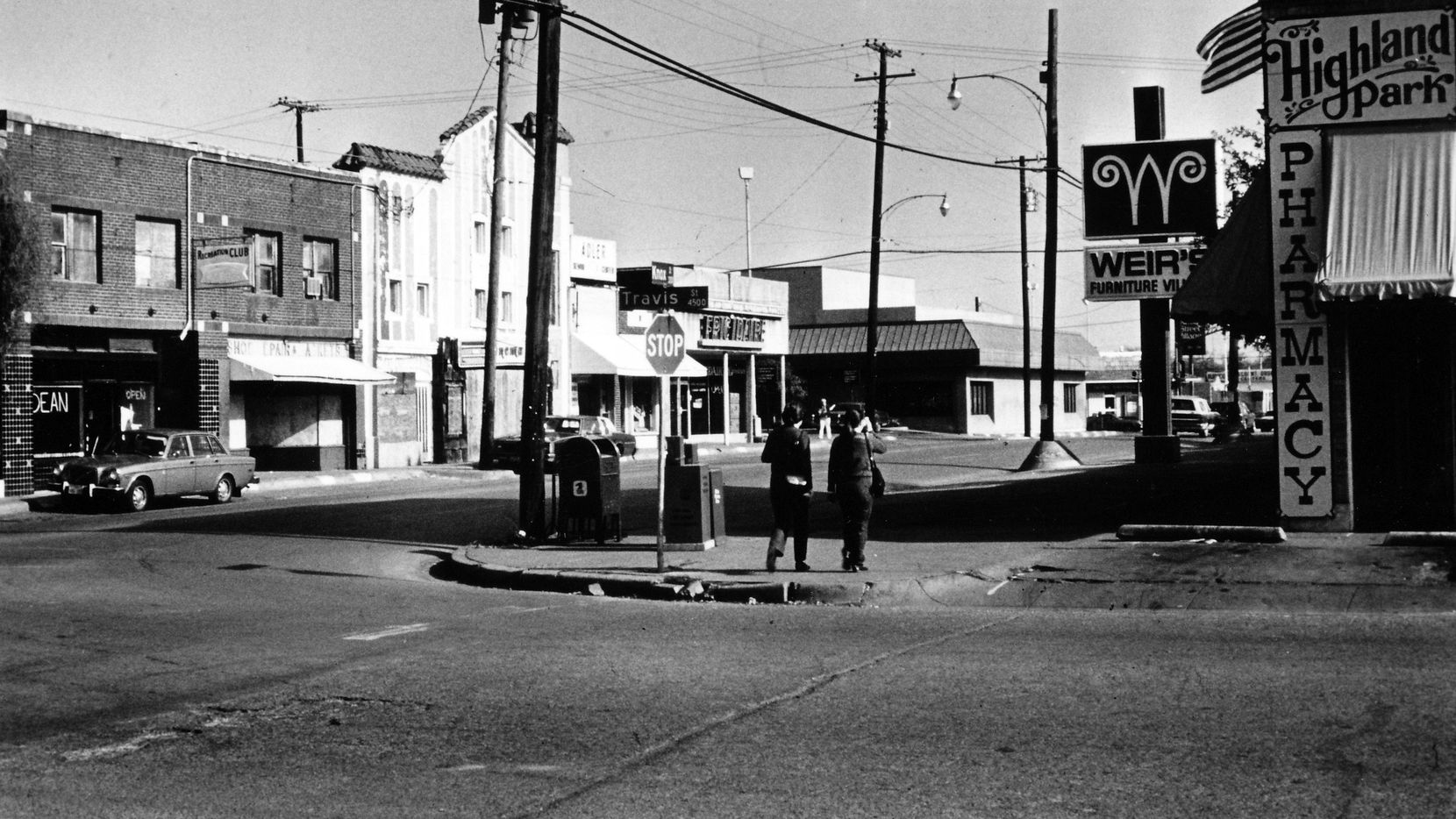 PUBLISHED January 14, 1984 - Knox Street at Travis - Highland Park Pharmacy - Weir's Furniture Village