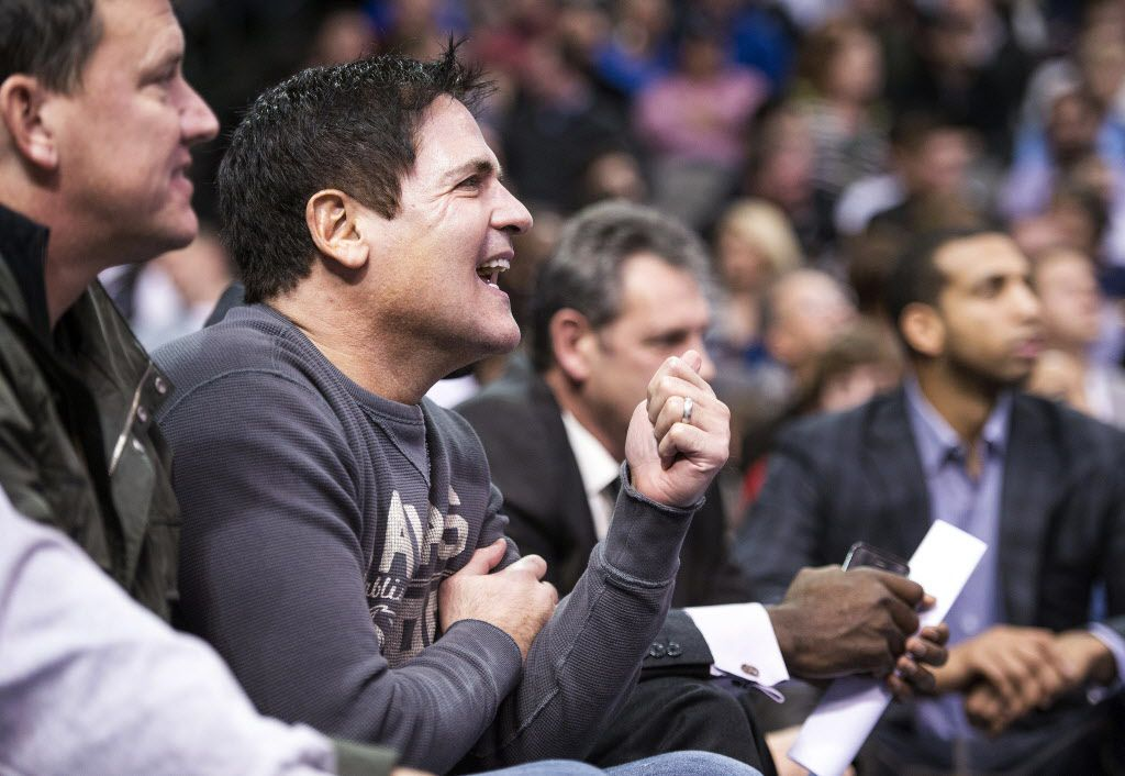 Nov 27, 2013; Dallas, TX, USA; Dallas Mavericks owner Mark Cuban reacts to his teams play during the first half against the Golden State Warriors at the American Airlines Center. Mandatory Credit: Jerome Miron-USA TODAY Sports