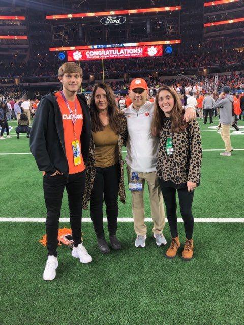 FC Dallas midfielder Tanner Tessmann grew up a Clemson fan. Tessmann, left, is pictured here with his family. FRom left to right: Tanner Tessmann, mother Kelly Tessmann, father PJ Tessmann, sister Ashley TEssmann.
