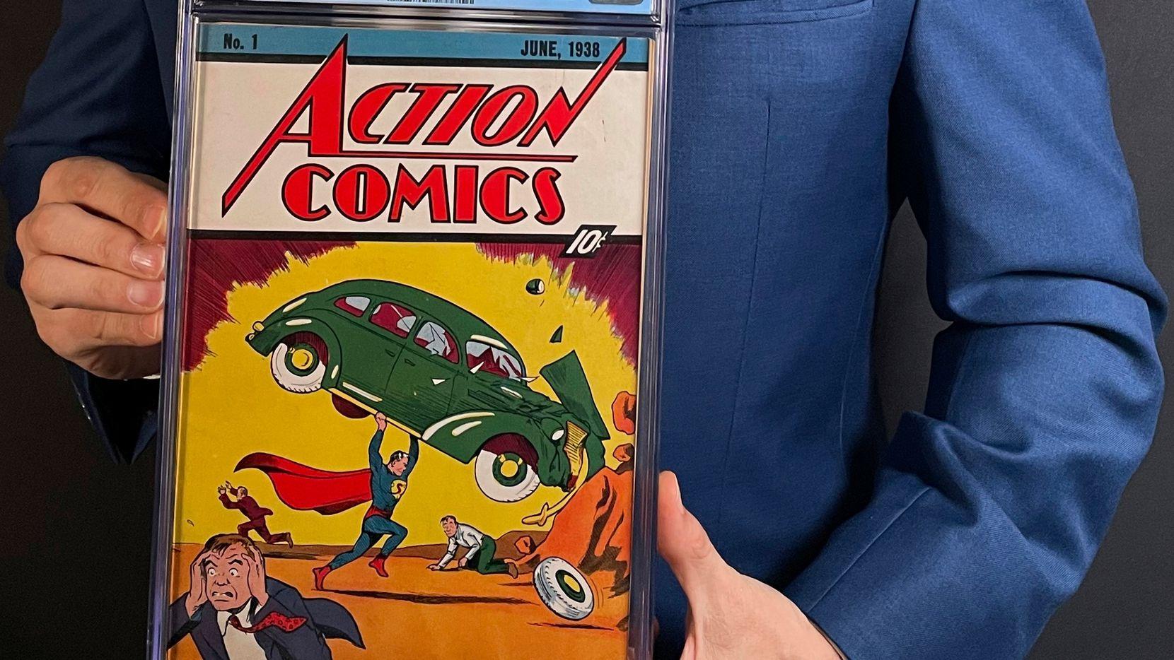 En esta imagen cortesía de Metropolis Collectibles difundida el martes 6 de abril de 2021, se ve el primer número del libro de historietas Action Comics en el que Superman aparece por primera vez.