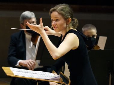 Conductor Katharina Wincor leads the Dallas Symphony Orchestra at the Meyerson Symphony Center in Dallas, Texas on March 11.