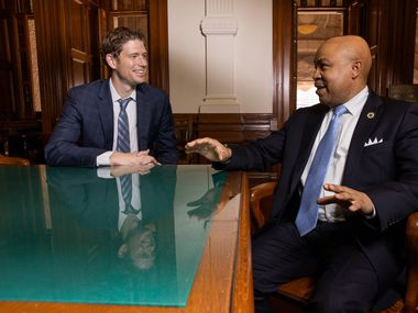 (From left) Rep. Matt Krause (R-Ft.Worth) and Carl Sherman (D-Desoto) chat during a photo shoot at the Texas Capitol in Austin on Tuesday, March 16, 2021. (Juan Figueroa/ The Dallas Morning News)