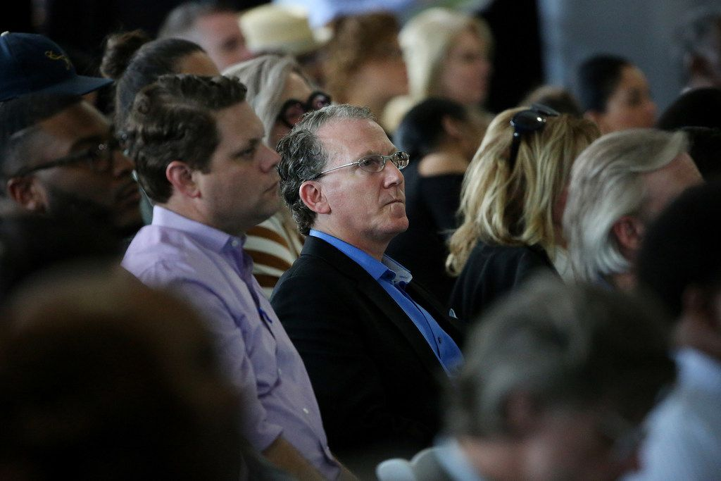 Michael Ablon listens to Dallas Mayor Mike Rawlings speaks at the 2018 GrowSouth Annual Report event at the Trinity Forest Golf Club in Dallas Thursday May 24, 2018. (Andy Jacobsohn/The Dallas Morning News)