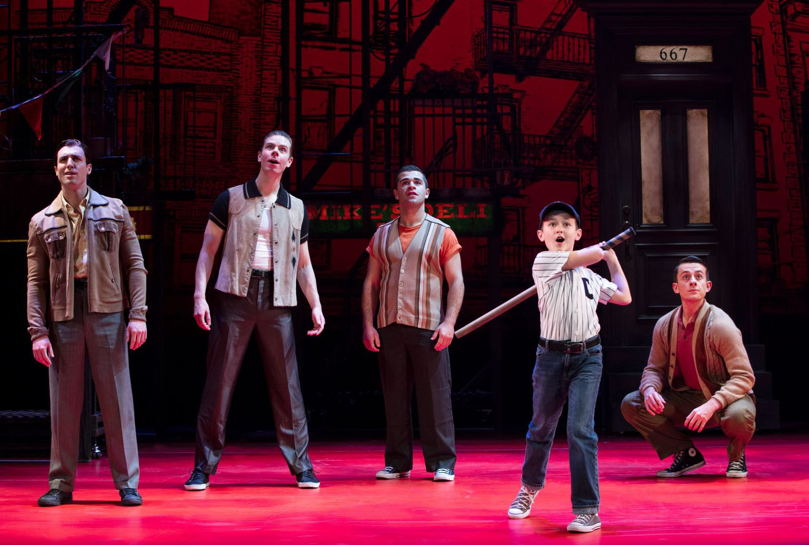 Frankie Leoni (second from right) and the musical A Bronx Tale  will be in Dallas at the Winspear Opera House from Dec. 23 to Jan. 6.