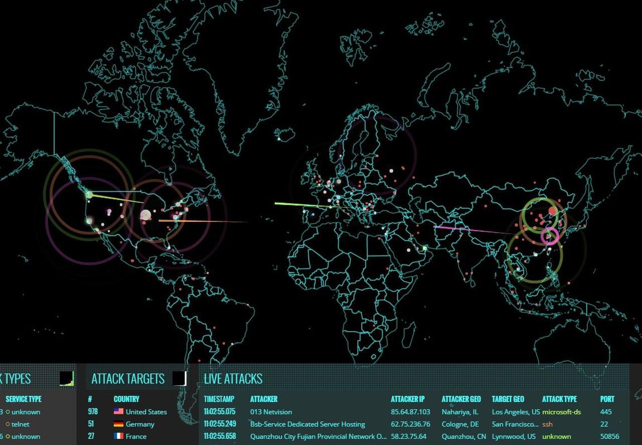 Screenshot of a live map posted by the Norse cyber-security company depicting second-by-second attacks launched by hackers around the world.