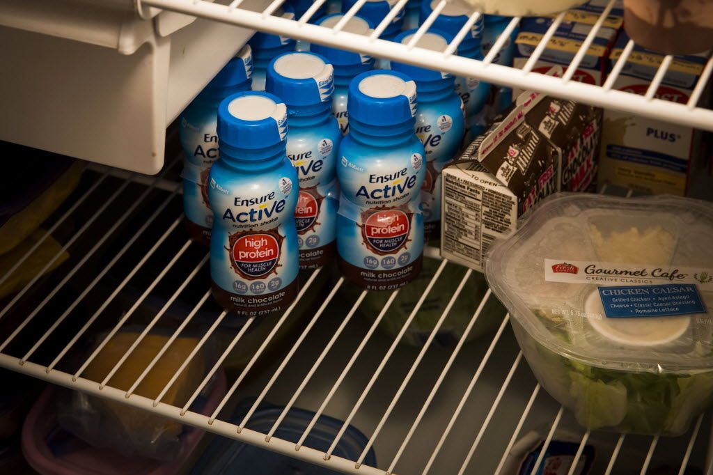 Nutritional products in the refrigerator on Thursday, June 23, 2016, in Dallas. (Smiley N. Pool/The Dallas Morning News)