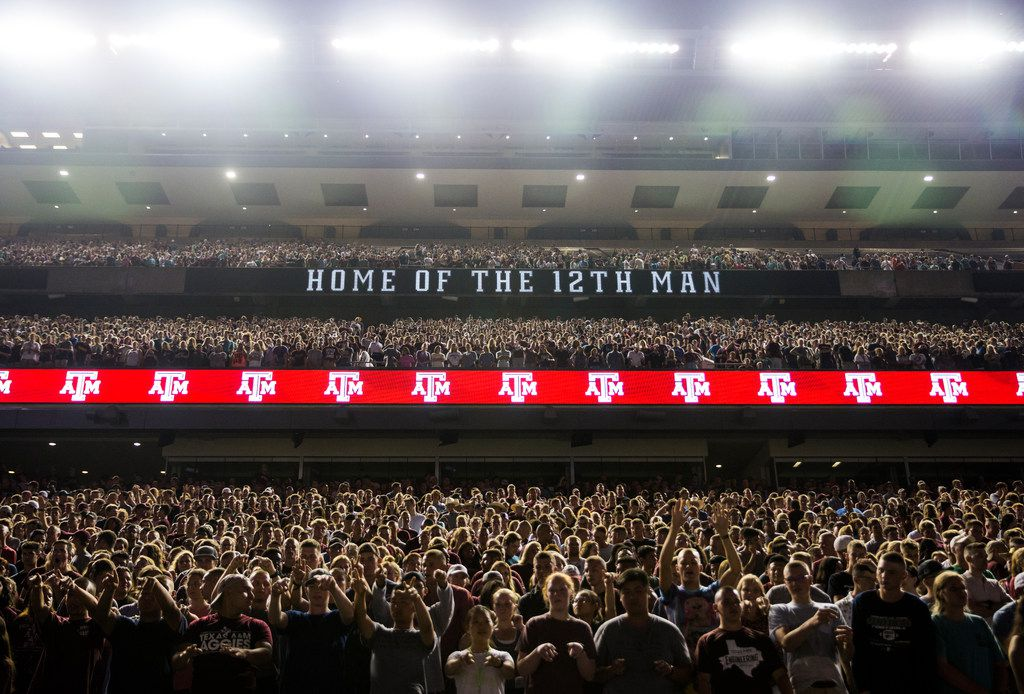 Thousands of Texas A&M Aggie fans gather for Yell Practice on Wednesday, August 29, 2018, ahead of Thursday's matchup against the Northwestern State Demons at Kyle Field in College Station, Texas. (Ryan Michalesko/The Dallas Morning News)