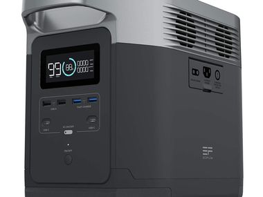 The front panel of the EcoFlow Delta Portable Power Station features the display and six USB ports.