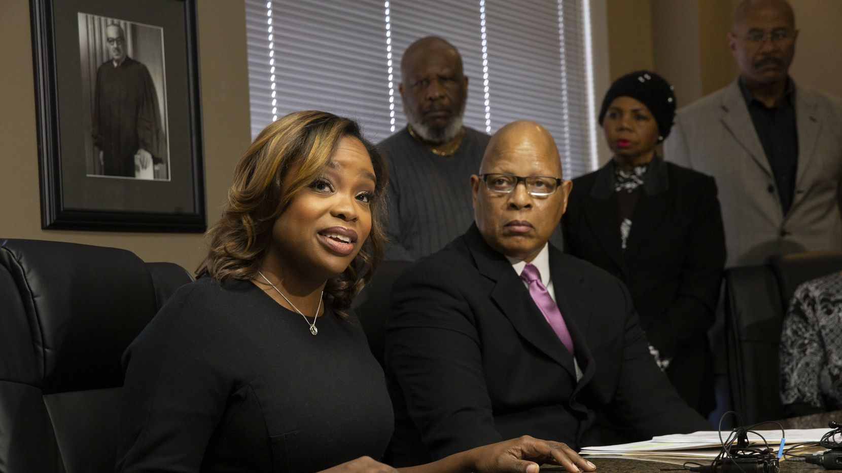 DeSoto councilwoman Candice Quarles held a brief press conference Thursday to announce she would not be stepping down, despite calls for her resignation. At right is her attorney Anthony Lyons. (Juan Figueroa/ The Dallas Morning News)