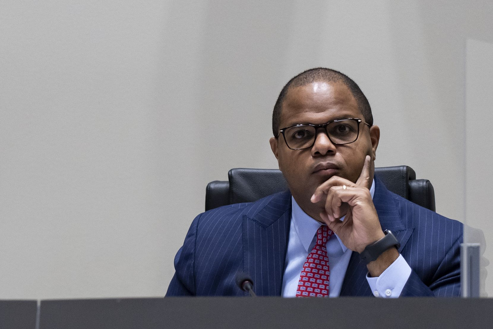 Dallas Mayor Eric Johnson listens to a member of the community address a concern during a city council meeting at Dallas City Hall on Wednesday, September 22, 2021 in Dallas, Texas. (Emil Lippe/Special Contributor)