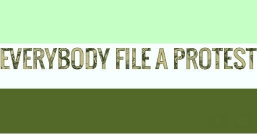 "The Watchdog's ""Everybody File A Protest"" campaign has its own virtual flag. Green, for money saved if the plan works."