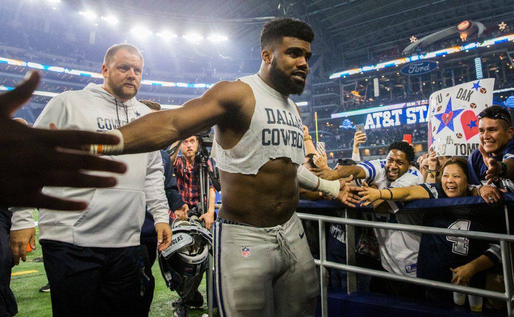 Dallas Cowboys running back Ezekiel Elliott (21) leaves the field after their game against the Washington Redskins on Thursday, November 24, 2016 at AT&T Stadium in Arlington, Texas. The Cowboys won 31-26. (Ashley Landis/The Dallas Morning News)
