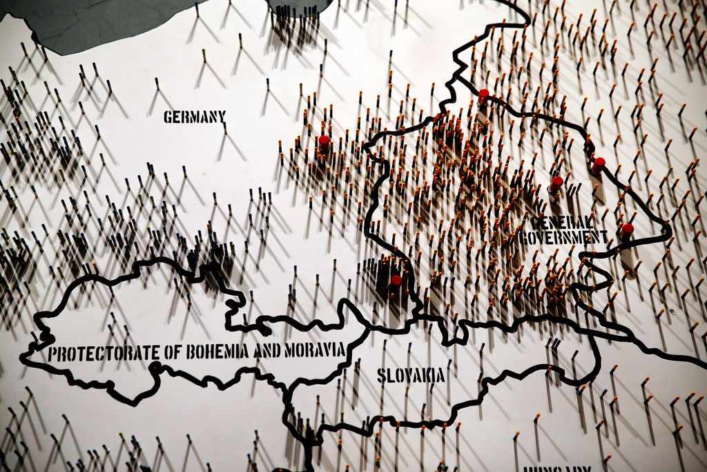 Nails pinned to a map of Europe are seen during a media preview of the new Dallas Holocaust and Human Rights Museum in downtown Dallas.