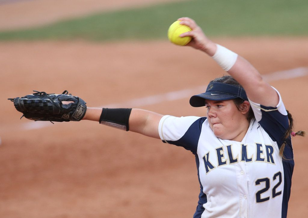 Keller pitcher Dylann Kaderka delivers a pitch against Austin Bowie during the Class 6A state championship game at McCombs Field in Austin on June 3, 2017. (Steve Hamm/Special Contributor)