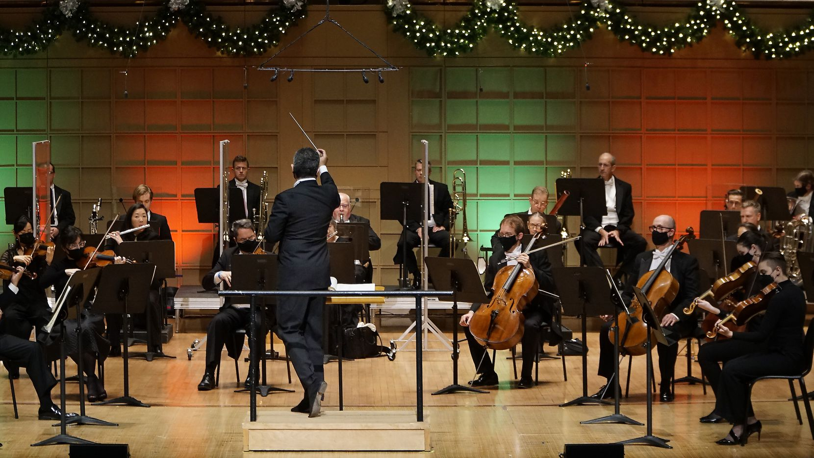 Guest conductor Andrew Grams leads the Dallas Symphony Orchestra in Tchaikovsky's 'Nutcracker' at the Meyerson Symphony Center in Dallas on Friday, Nov. 27, 2020.