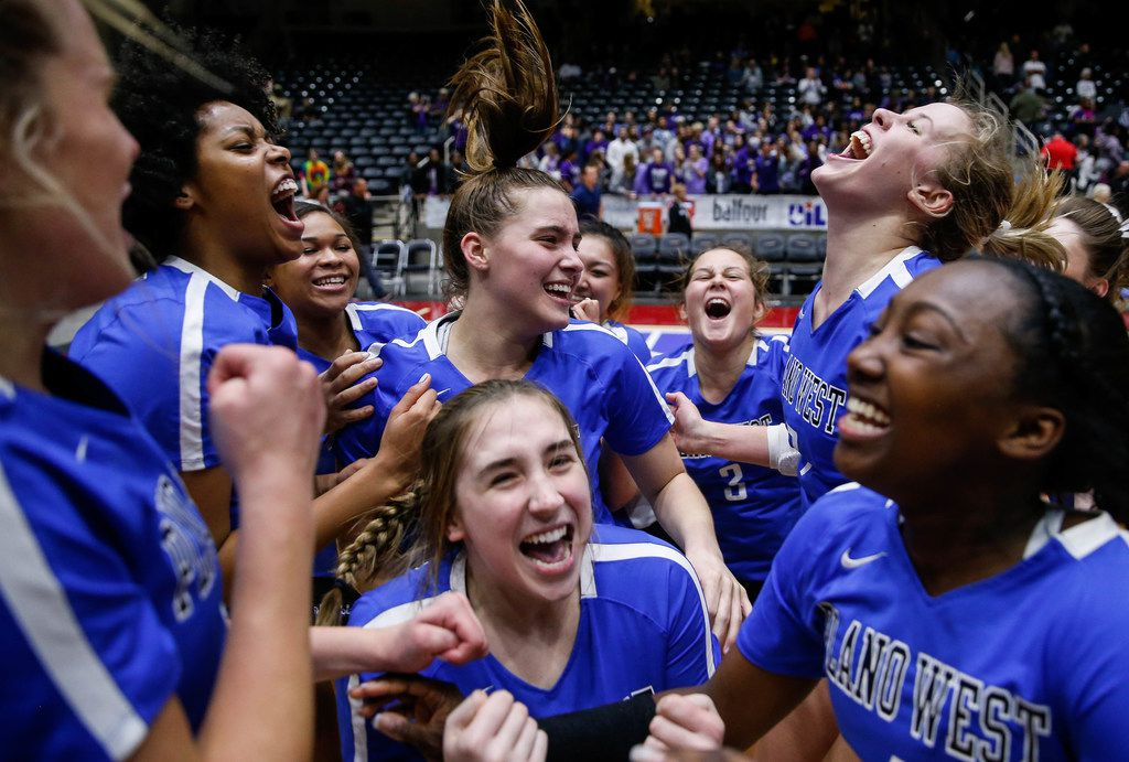 The Plano West Wolves celebrate after winning the fifth and final set during a class 6A volleyball state semifinal match between Plano West and Fort Bend Ridge Point at the Curtis Culwell Center in Garland, on Friday, November 22, 2019. Plano West won the tie-breaker fifth set 15-13 to move on to the final match. (Juan Figueroa/The Dallas Morning News)