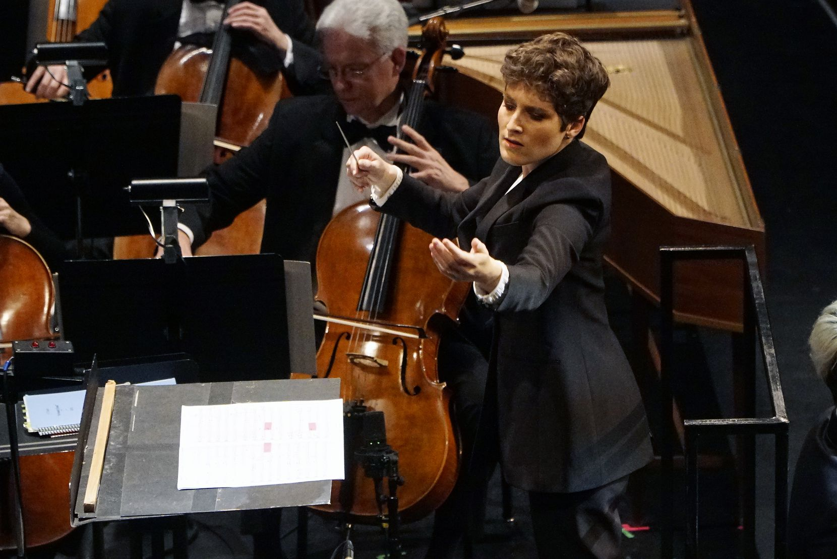 Tamara Dworetz conducts the Dallas Symphony Orchestra during the Hart Institute for Women Conductors showcase concert at the Winspear Opera House in Dallas, Texas on Saturday, November 9, 2019.