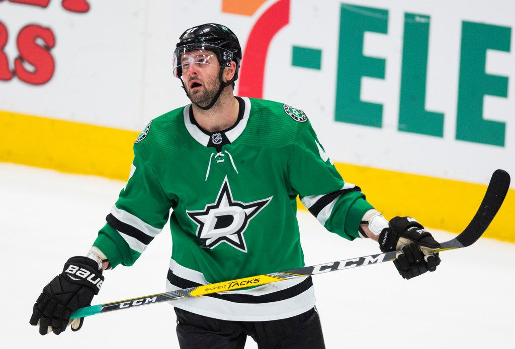 Dallas Stars right wing Alexander Radulov (47) reacts to a 4-1 loss to the Buffalo Sabres after an NHL game between the Dallas Stars and the Buffalo Sabres on Thursday, January 16, 2020 at the American Airlines Center in Dallas.