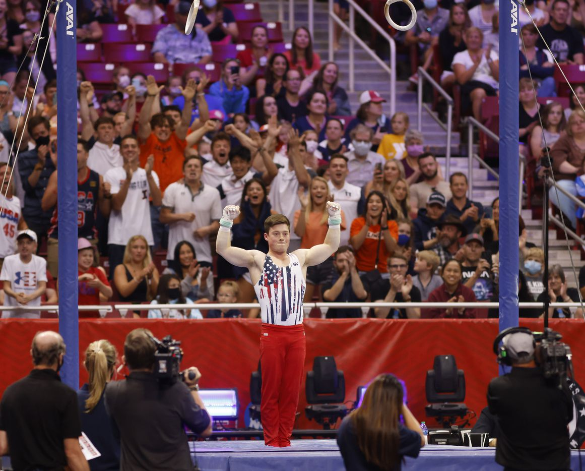 Alex Diab after competing in the rings during day 2 of the men's 2021 U.S. Olympic Trials at America's Center on Saturday, June 26, 2021 in St Louis, Missouri.(Vernon Bryant/The Dallas Morning News)